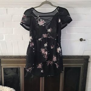 Sheer Black and Floral High-Low Top